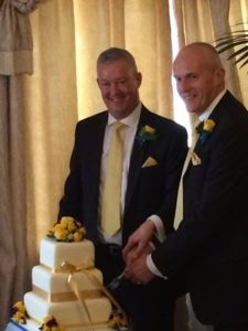 Laurence and Jeremy cut the cake